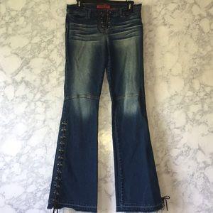 Bongo Flare Leg Lace Up Jeans Sz 9